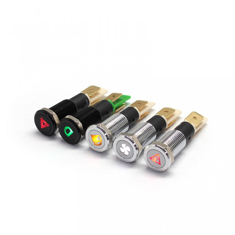 10mm 12v 2 pins red yellow green bule custom symbol ip67 metal led light