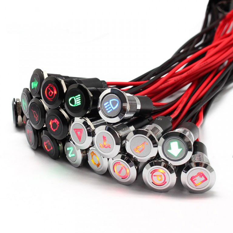 12mm 12v Silver black metal waterproof ip67 car indicator light with wire