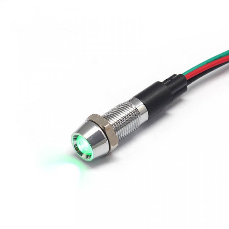 12V Double color 8mm indicator light led with wire