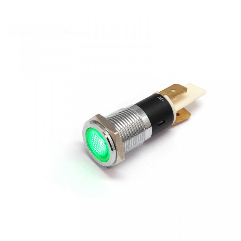 14MM 110V waterproof ip67 green metal led lamp